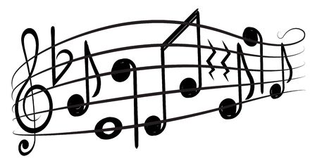 Music notes and g-clef on а music staff, decorative element for your design. Illusztráció
