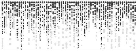 Wide vector halftone dots background. Falling black dots lines on white background. Illusztráció