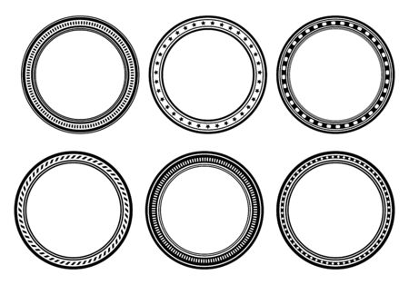 Set of six circle frames, round borders for your design. Vector Illustration