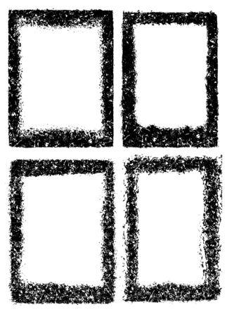 Set of four frames in grunge style Illusztráció