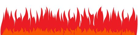 Wide and low vector fires background. Continuous, non-stop red flame. Blazing banner. Illusztráció