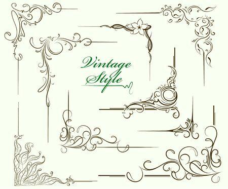 Set of decorative corners, design elements, elegant borders for your design, vector illustration