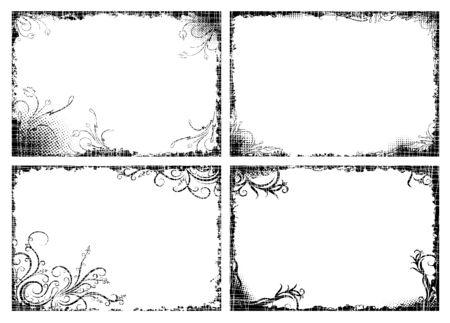 Set of four floral frames in grunge style for your design Illusztráció