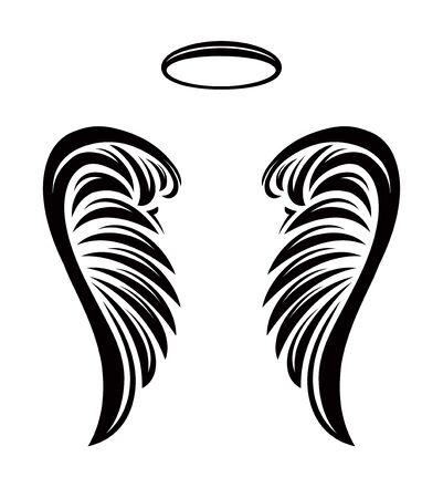 Pair of vector angel wings with nimbus