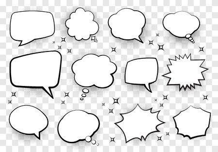 Conjunto de burbujas de discurso de estilo cómico para su diseño. Ilustración vectorial.