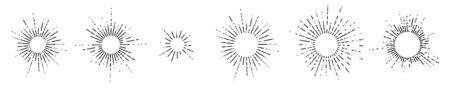 Set of six vintage sunburst, sun rays, sunbeams, vector design elements for your design