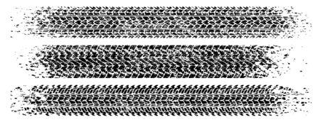 Set of three shabby, grunge style, dirty vector traces of tires. Illusztráció