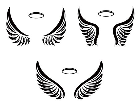 Set of three pairs of vector angel wings with nimbus