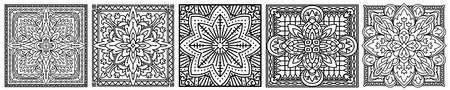 Set of hand drawn square elements. Flower mandala. Vector illustration.
