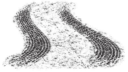 Two warped black grunge tire tracks for your design. Illusztráció