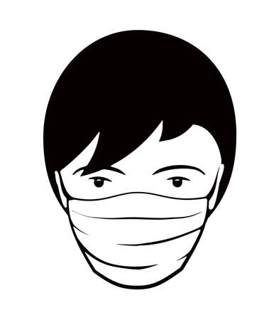 Novel coronavirus Covid-19 outbreak. Editable vector illustration for your design. Face of man with medical mask icon vector  isolated on white background