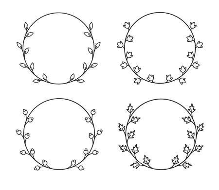 Vector vintage circle wreaths in mono line style. Collection of four floral frames. Illusztráció