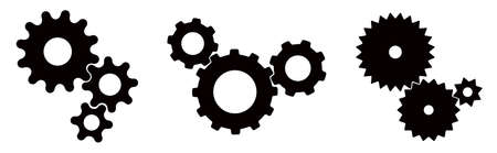 Three sets of black cogs (gears) on white background