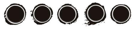 Set of five white frames on black grunge stains for your design.