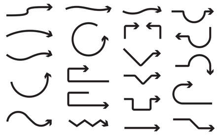 Big set of hand drawn vector arrows on a white background. Illusztráció