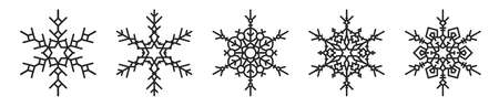 Set of five black stylish winter snowflakes. Christmas, New Year icons silhouettes for your design.