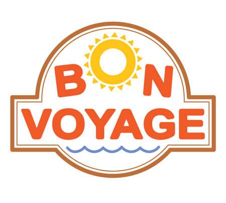 Bon voyage colorful emblem, decor or rubber stamp with sun symbol