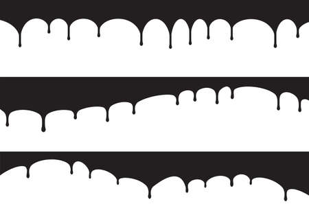 Set of three black paint dripps, blobs for your design on a white background.