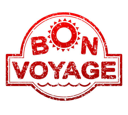 Bon voyage red rubber stamp with waves and sun symbol