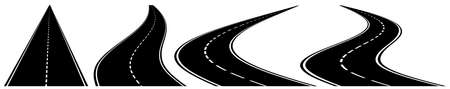 Set of four vector winding roads on white background.