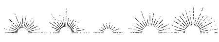 Set of five retro style sunburst shapes. Halves of sunburst circles. Vintage logo, emblem, decors of rising sun.
