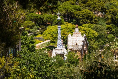ramblas: views over barcelona from park guell on the mountains