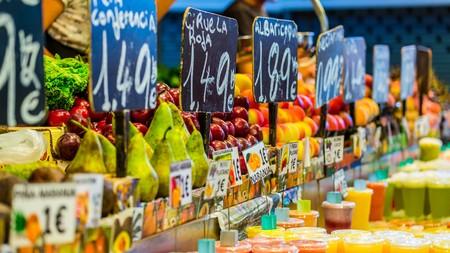 barcelona: colourful food market impressions in barcelona spain Stock Photo