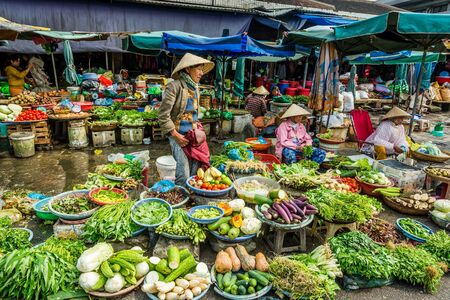 vegetables on an asian market in vietnam Editorial