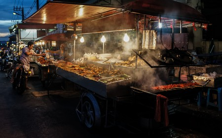 street food: asian street food on a market in thailand
