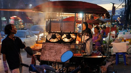 asian street food on a market in thailand