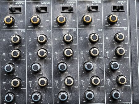 possibilities: details of a mixing console with many adjustment possibilities Stock Photo