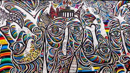 street art at the berlin wall in berlin europe Editorial