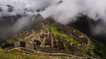 inca ruins: the famous inca ruins of machu picchu in peru Stock Photo