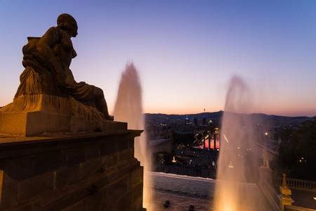 montjuic: the magic fountain of montjuic in barcelona Stock Photo