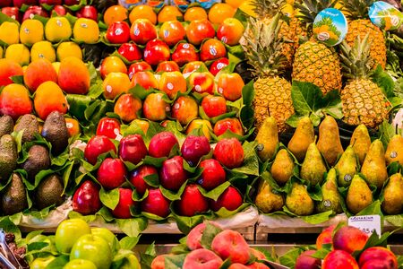 colourful food market impressions in barcelona spain Stock Photo