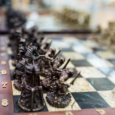 focus shot: selective focus shot of a chess field Stock Photo