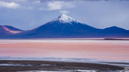 lagoon: red lagoon in the bolivian altiplano
