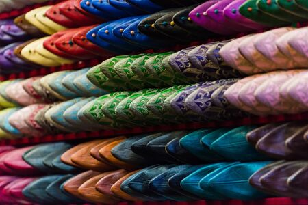 focus shot: selective focus shot of traditional moroccan shoes