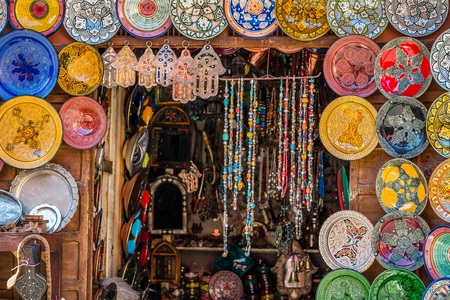 selective focus shot of a moroccan tourist shop Stock Photo