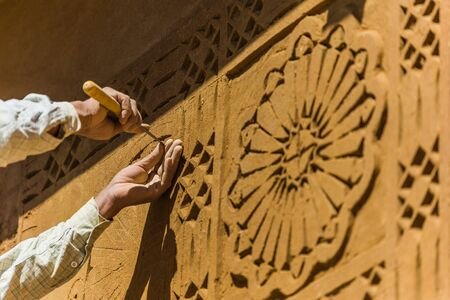 focus shot: selective focus shot of special carving technique for house design in morocco Stock Photo