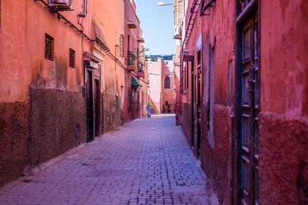 medina: woman walking in the medina of marrakech