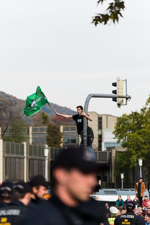 radicals: Heidelberg, Germany - October 24, 2015 - Counterdemonstration against radicals of the righ wing