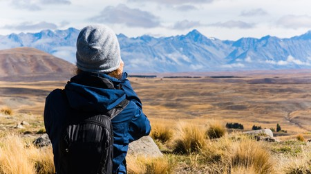 new horizon: A hiking girl in new zealand Stock Photo