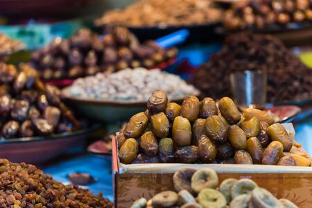 focus shot: selective focus shot on dates on a moroccan market