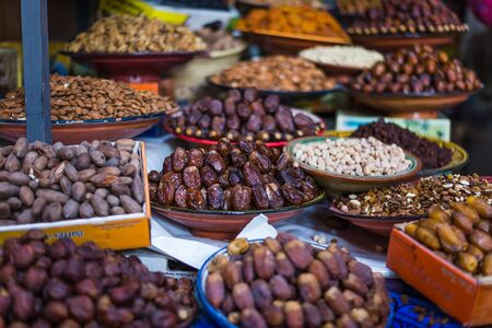 fes: selective focus on dates on a market in fes Stock Photo