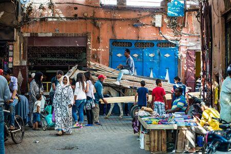 marrakesh: marrakesh, Morocco - Circa September 2015 - typical life in the narrow streets of marrakesh