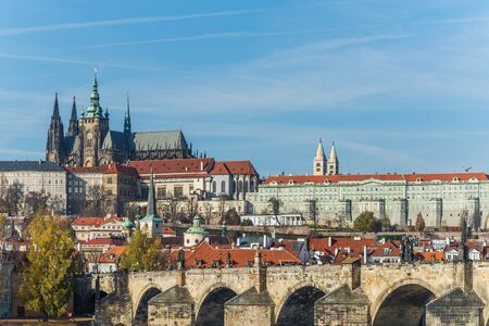 prague castle: View over the old town of prague and the castle Editorial