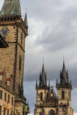 tynsky church: Prague, Czech - November 13, 2015 - old town square of prague Editorial