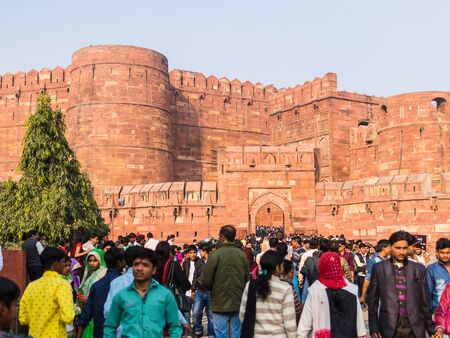 masses: Agra, India - Circa January 2016 - incredible tourists masses at the red fort Editorial