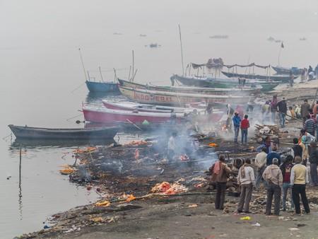 varanasi: Varanasi, India - Circa January 2016 - burning ghat in varanasi